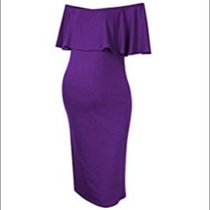 Purple ruffled off the shoulder dress
